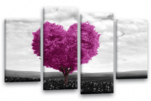 Love Heart Canvas Wall Art Picture Floral Tree Plum White Print